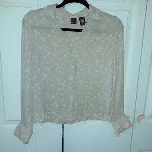 Merona Silk Button Up Blouse, Size S, Tan/White